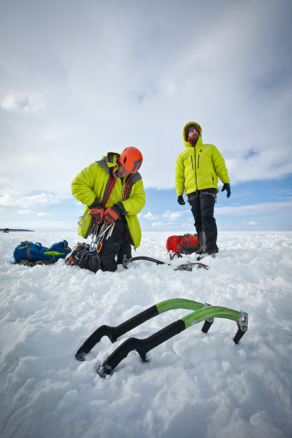 Adam Dailey gears up while Jon Jugenheimer eyes their next route.