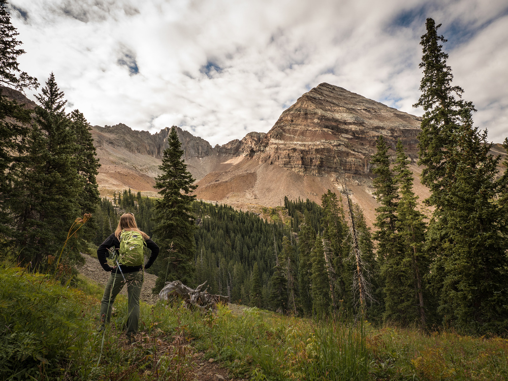 Hiking the Sharkstooth Trail, stopping to look at Mt. Hesperus along the way.