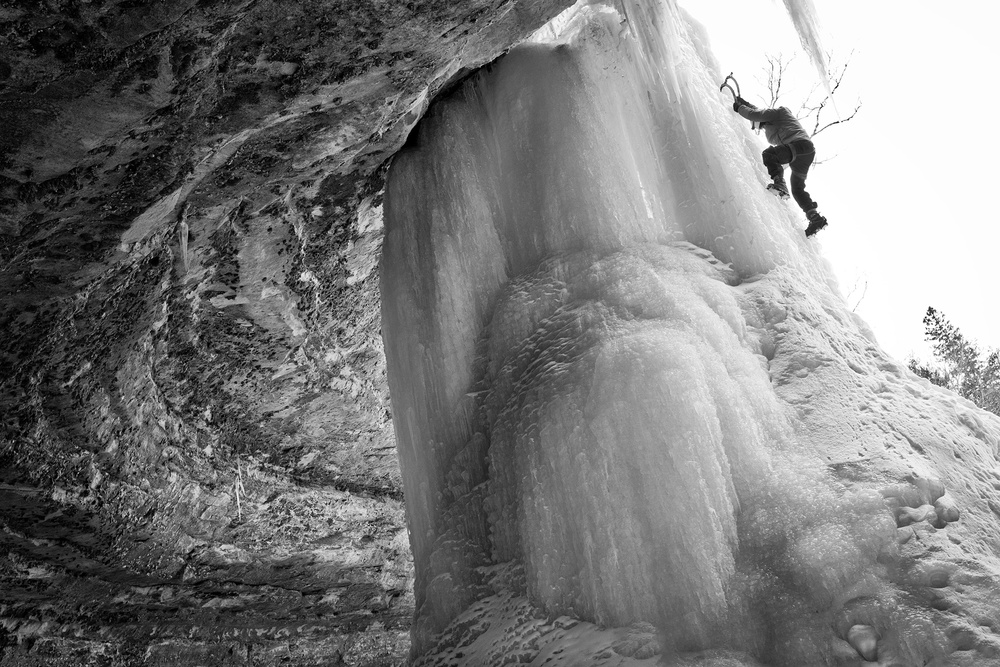 Joe Priebe has his pick of routes on the immense surface of Giddy Up.