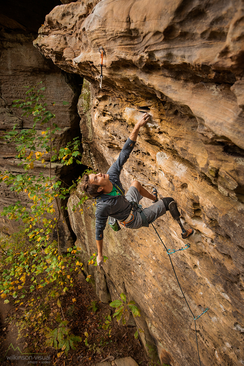 October 2015. Professional climber Craig DeMartino in the Red River Gorge, Kentucky.