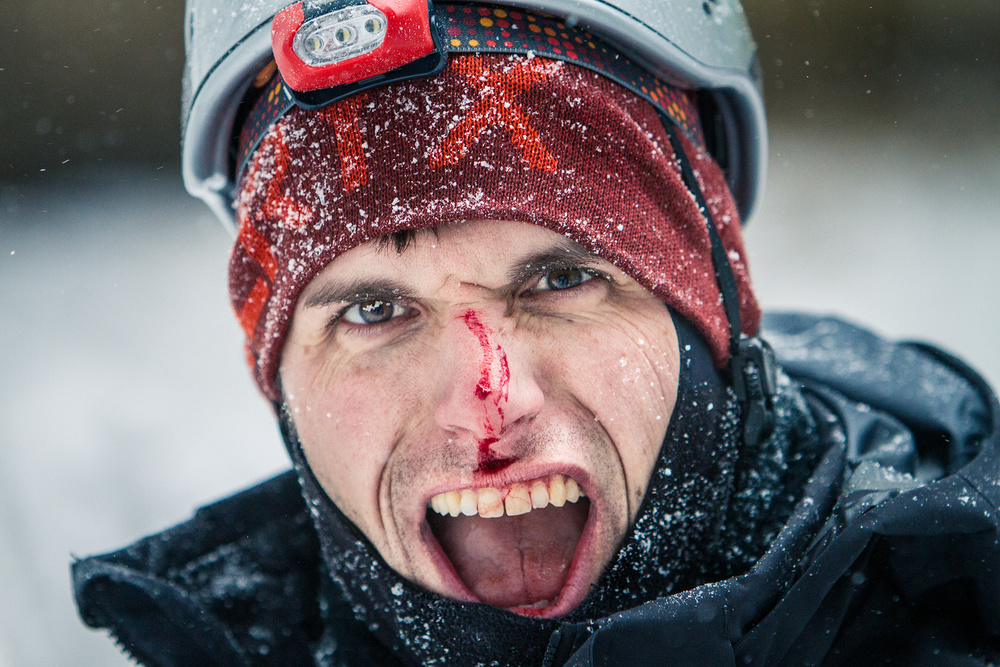 Matt Cox gets the sharp end on an ice climb in Northern Michigan.