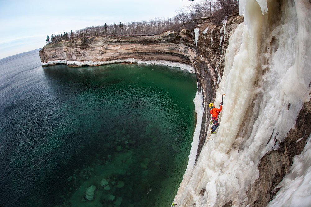 Angela VanWiemeersch climbs HMR over open water on Lake Superior.