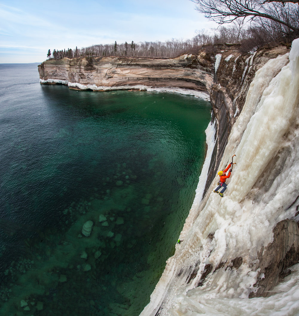 Angela VanWiemeersch climbs HMR over open water on Lake Superior.