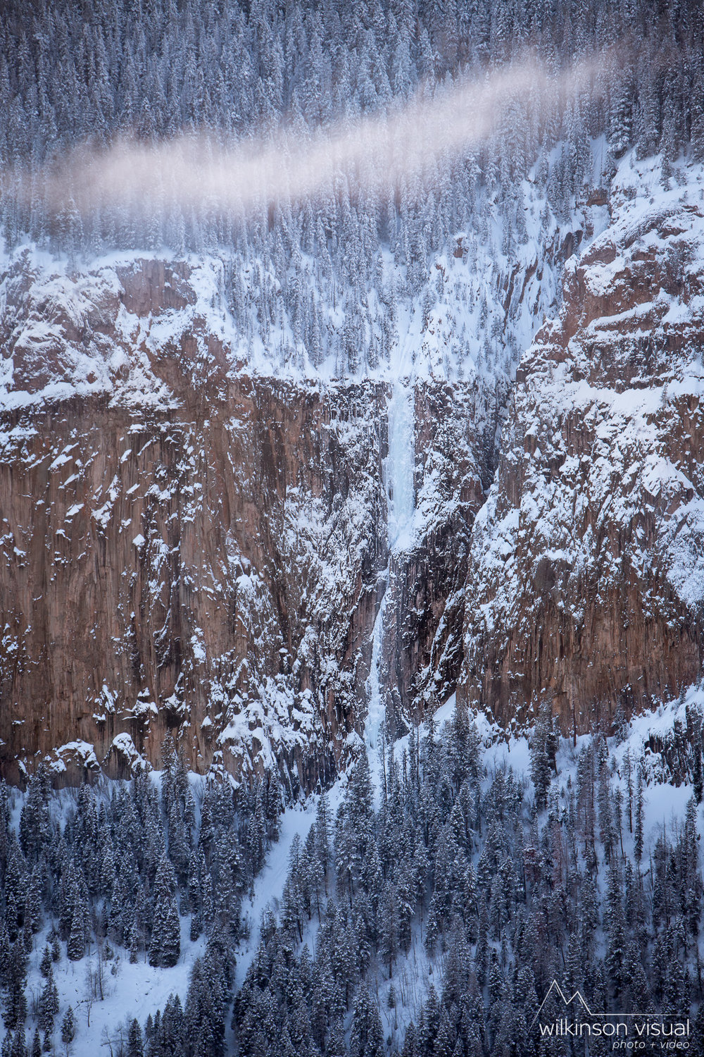 The Ames Wall in winter, with Ames Ice Hose in good condition. San Juan National Forest, Colorado.