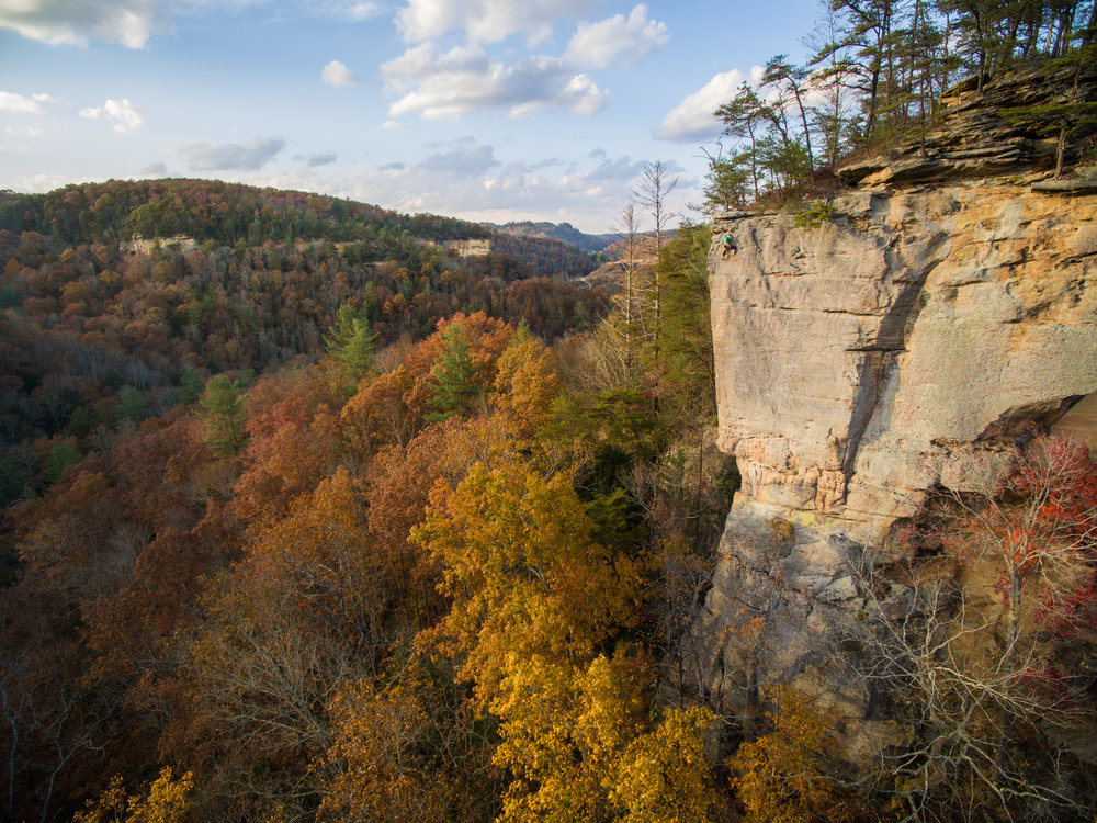 Rock climber Matt Hodges near the top of the cliff in Kentucky's Red River Gorge.