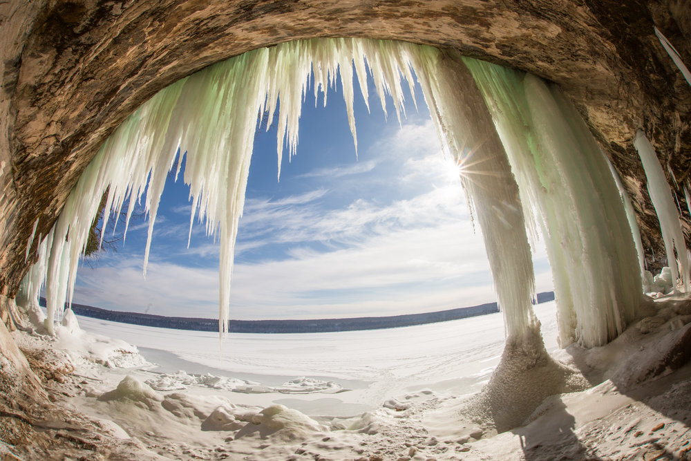 Ice caves along the shores of Lake Superior, found on Grand Island, Michigan.