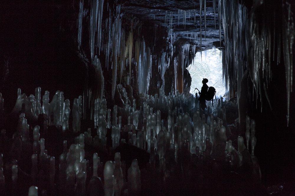 Ice forming inside hidden caves in Kentucky.