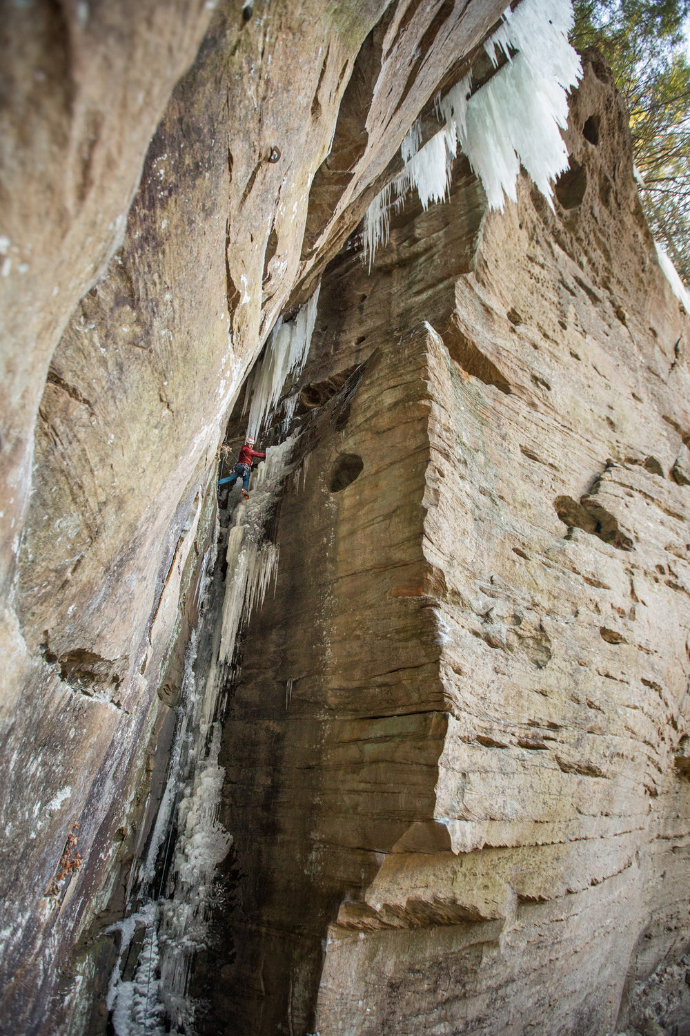 Heath Rowland gets the first ascent of a rare ice climb, formed up in Kentucky's Red River Gorge.