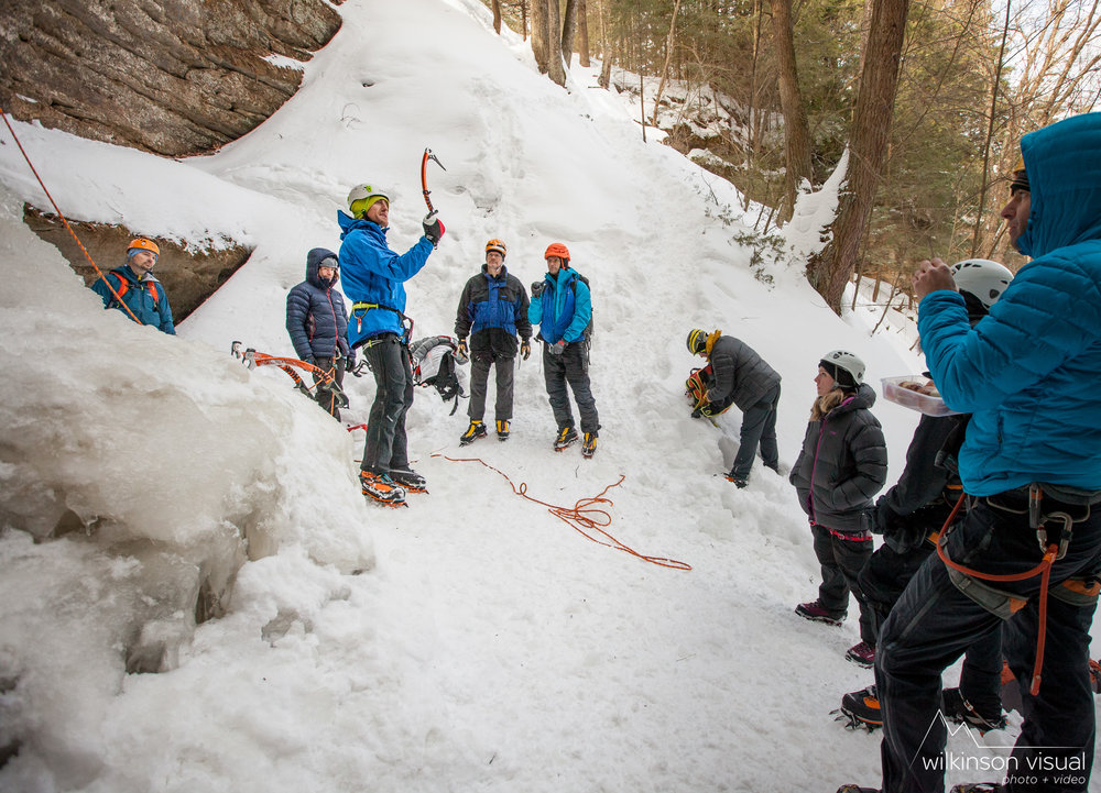 CAMP athlete Ben Edrmann teaches ice climbing in Michigan.
