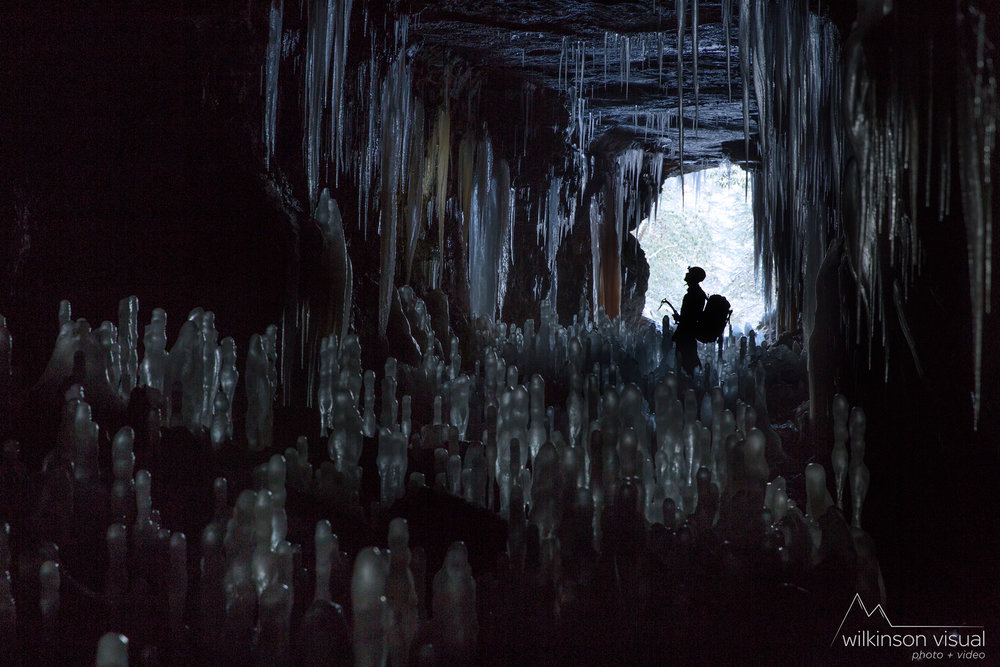 While scouting new ice lines in Kentucky, one approach took us through an old railroad tunnel, filled with ice hydromites as tall as us.