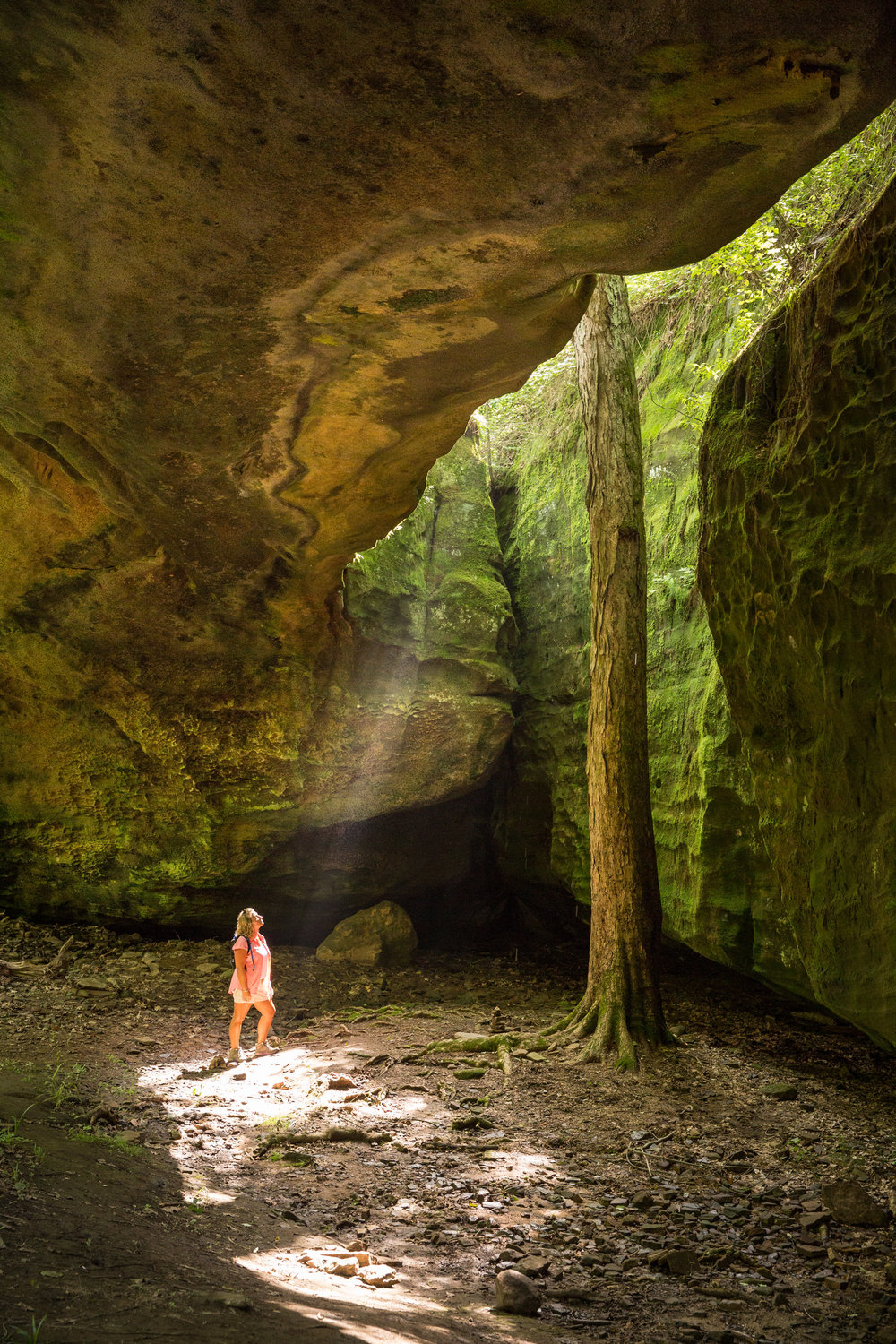 A hiker explores Mantle Rock Nature Preserve, during an editorial shoot for the Kentucky Nature Conservancy.