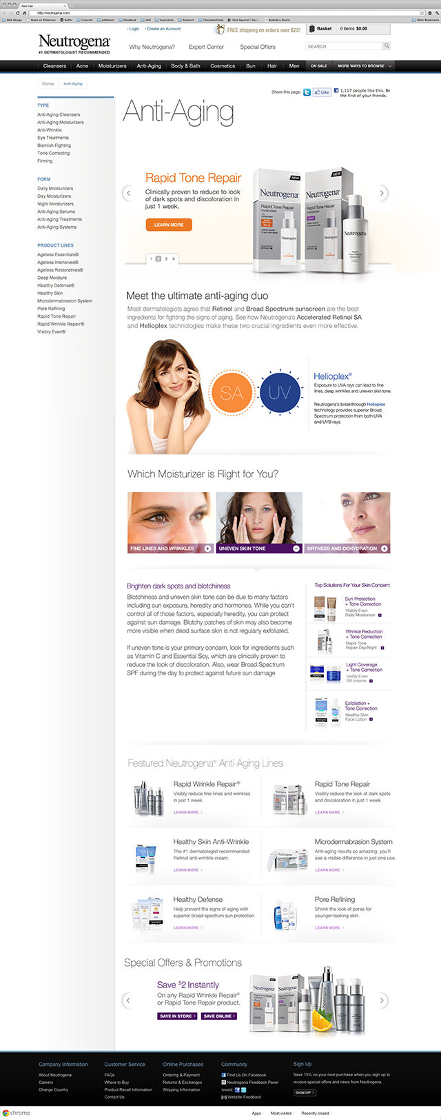 Anti-aging Category Webpage