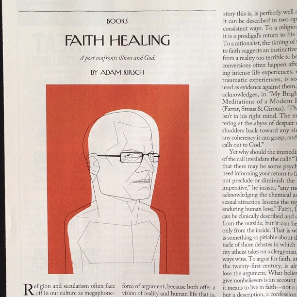 Alessandro Gottardo #illustration of Christian Wiman in The New Yorker