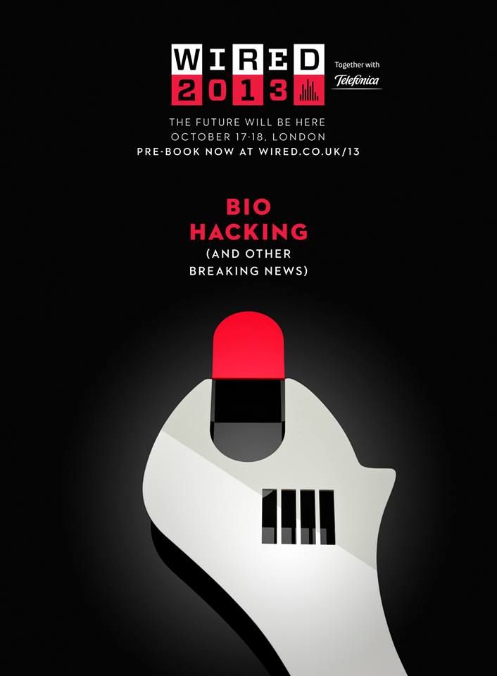 EVENT > WIRED 2013 Bio Hacking, 17-18th October 2013 Poster #illustrated by Noma Bar. Produced as an original acrylic cut  Photographed by Sun lee pre-book at wired.co.uk/13