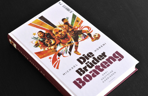 Dragon76 - Die Brüder Boateng  Through the post this morning we received a copy of   Die Bruder Boateng   from German publisher   Klett-Cotta's Tropen   imprint, with great cover art by   Dragon76  . Although not in English, a quick Google translation of the blurb reveals it to be far more intricate than just football.  As knowledgable people may know, the title refers to professional Ghanan footballers and brothers   Kevin  , George, and half brother   Jerome Boateng  , born in Germany. While the oldest George had a brief entry into the sport, Kevin found international fame with   Tottenham Hotspur's   and   A.C Milan  , while Jerome played for   Manchester City   and   Bayern Munich  , before playing against each other in the Germany vs. Ghana FA World Cup in 2010 (the first time two brothers had played on opposite teams in the tournament).  The book explores each of the brothers careers and insights into their lives, as well as their relationships with each other, comparing the opposing upbringing between the poorer town of Wedding, Ghana and Wilmersdorf, Germany. Unfortunately there isn't a translated version just yet, so unless you're bilingual you may have to make do with Dragons great work instead.  -   www.dutchuncle.co.uk/Dragon76     http://www.klett-cotta.de/buch/Tropen-Sachbuch/Die_Brueder_Boateng/21863      http://en.wikipedia.org/wiki/Kevin-Prince_Boateng      http://en.wikipedia.org/wiki/J%C3%A9r%C3%B4me_Boateng      http://www.mcfc.co.uk/      http://www.fcbayern.telekom.de      http://www.tottenhamhotspur.com      http://www.acmilan.com/en