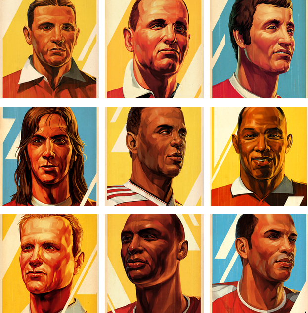 Tavis was also asked to work on other areas of the 'Arsenalisation' project. These portraits of historical Arsenal greats are currently housed in the Legends Bar in Club Level.