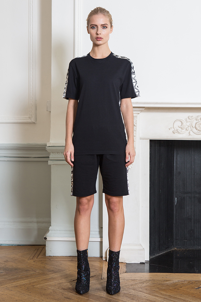Black Sadu Satin Paneled T-shirt and Shorts