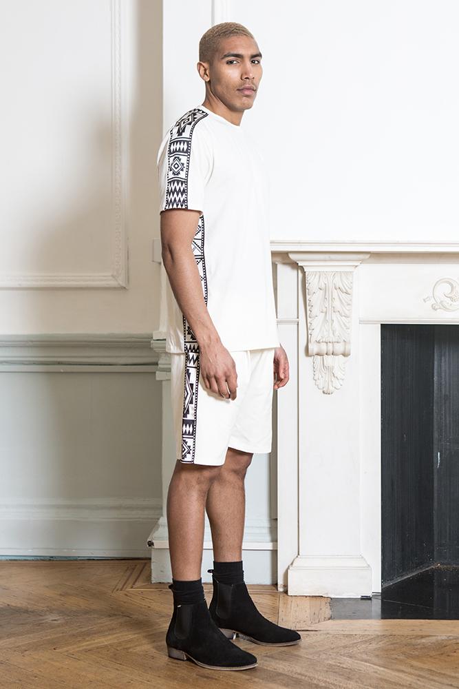 Off white Sadu Satin Paneled Tshirt and Shorts