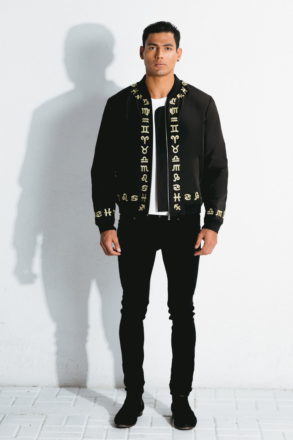 zodiac gold embroidered bomber jacket