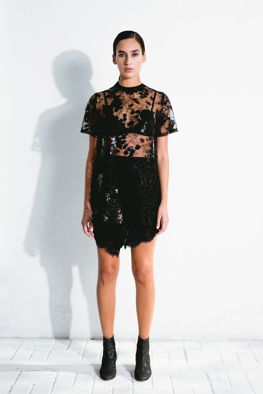 sequin lace oversized t-shirt & asymmetrical sequin lace skirt