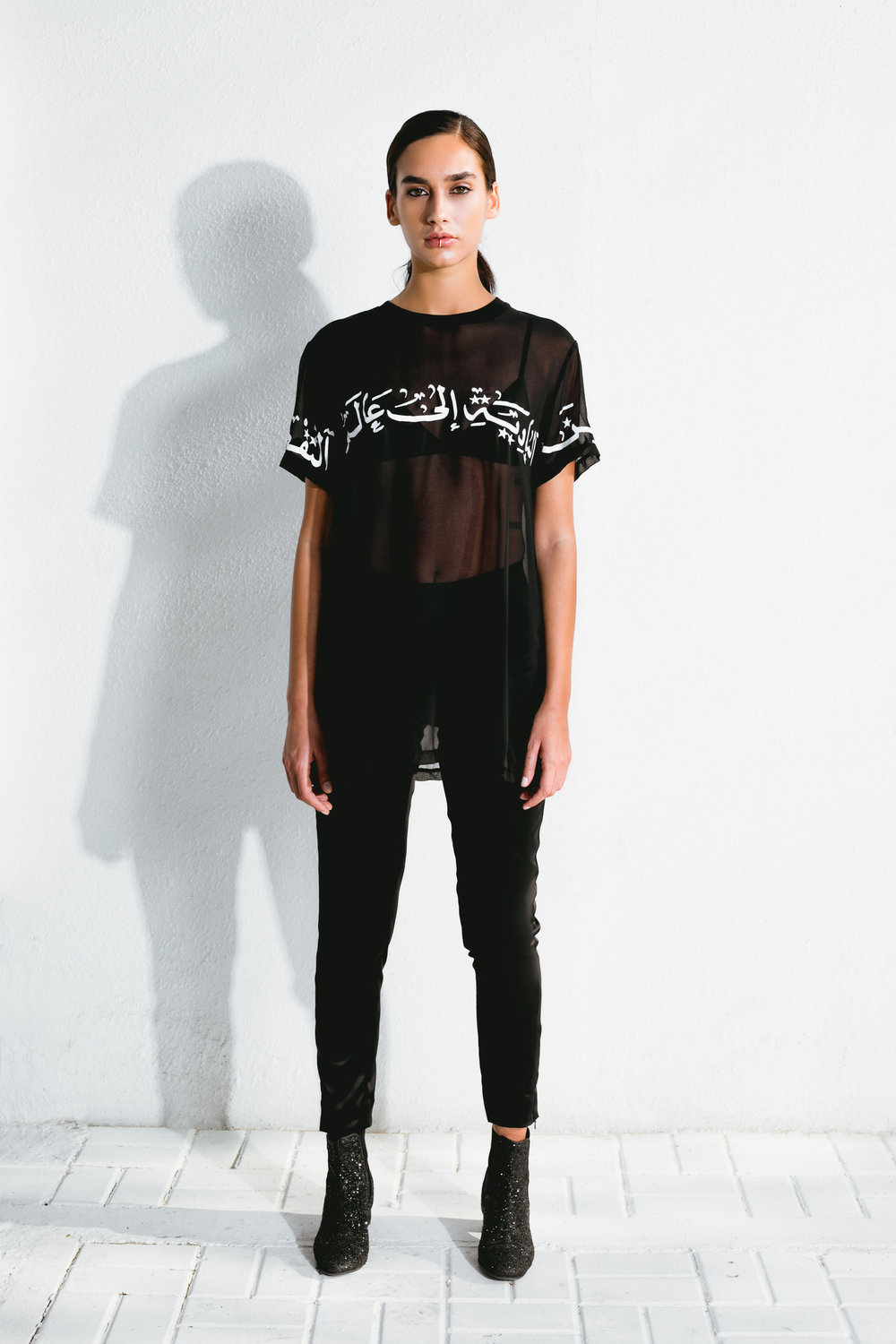 the arabian dream t-shirt & black satin pants