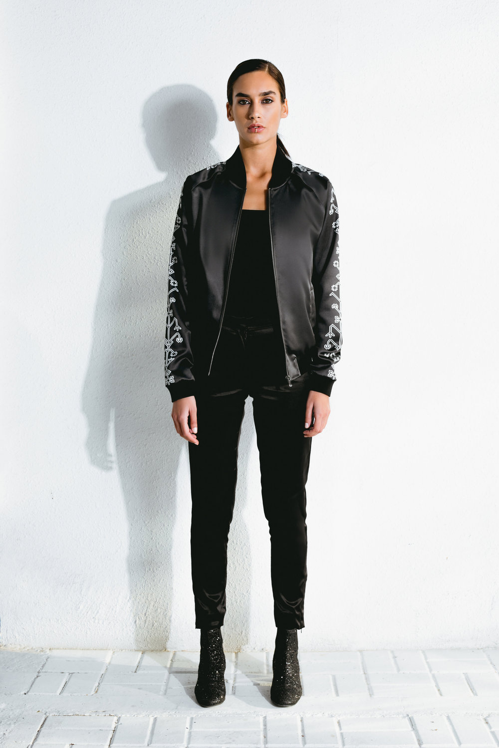 azilal pattern satin bomber & satin black pants