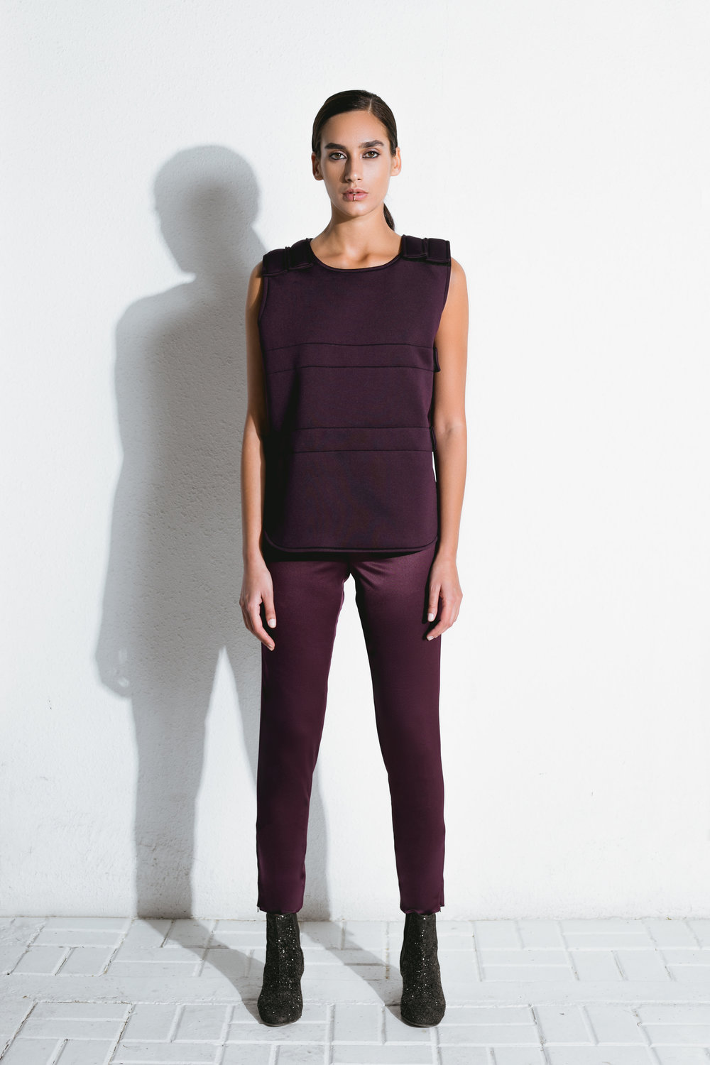 burgundy neoprene bulletproof vest & burgundy satin pants