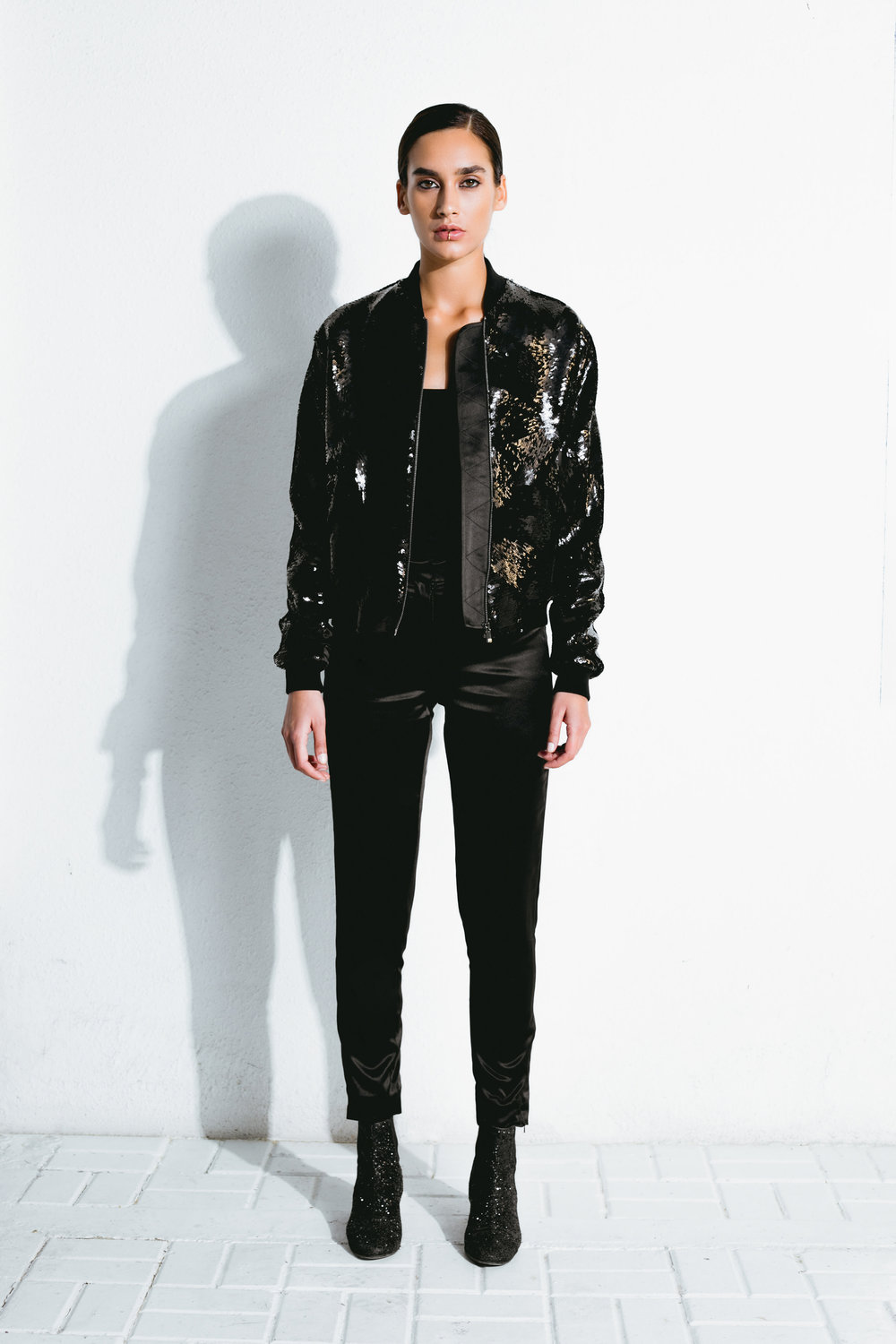 black cubist sequin bomber jacket