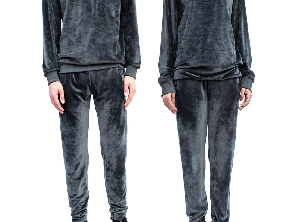 Dark Grey Velvet Track Pants (UNISEX)