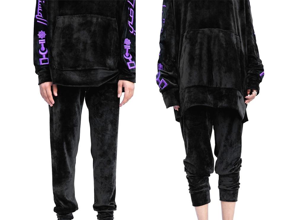 Black velvet track pants (UNISEX)