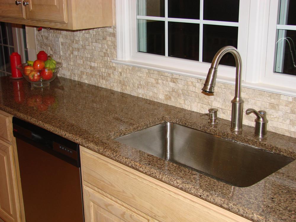Stone Tile Backsplash, Granity, Stainless Steel Fixture
