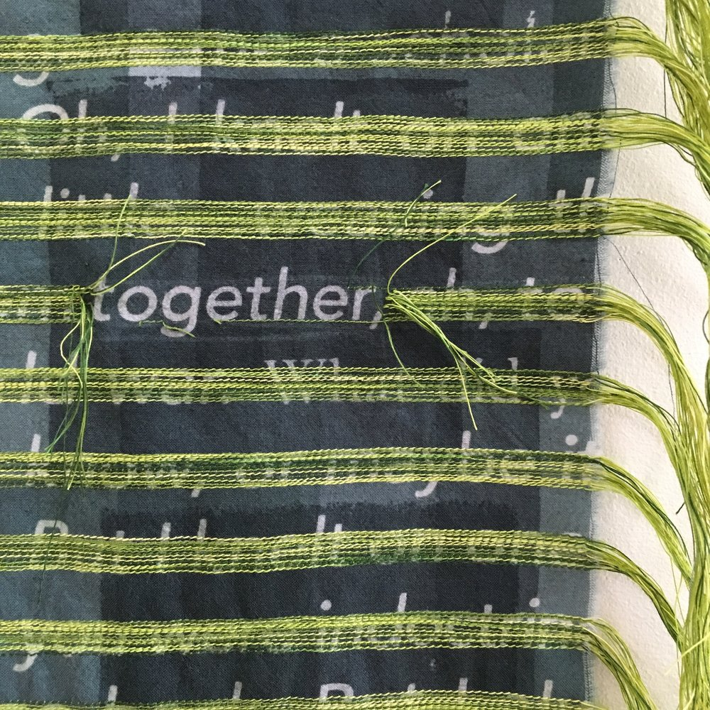 Together, 2016. machine stitching on printed cotton