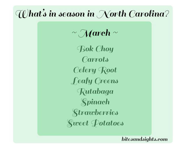Bites & Sights what's in season in NC in march
