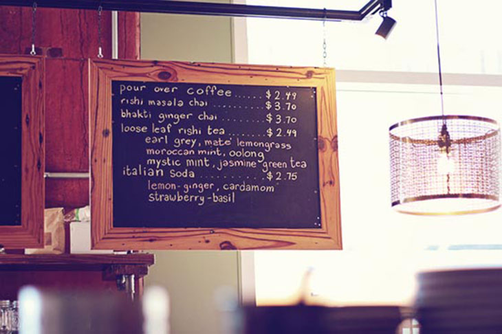 chalkboard menu at not just coffee