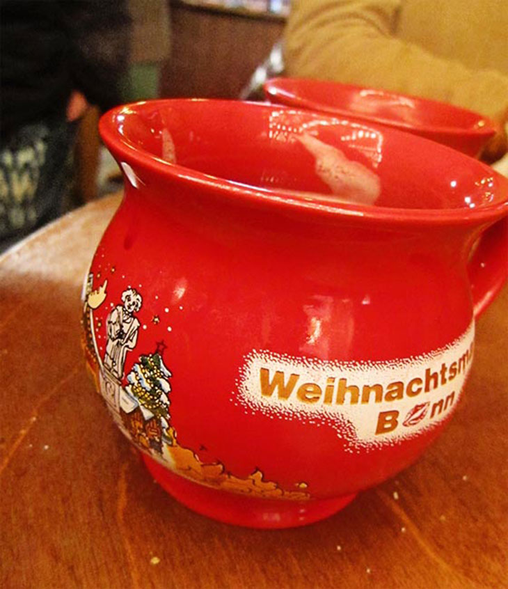 My favorite part of the Weihnachtsmarkt, Gluhwein!  Tip: when you buy a mug of Gluhwein, you must pay a deposit, or Pfand, for the mug.  Unless you want to keep the mug as a souvenir, be sure to turn the mug back in to get your deposit back!
