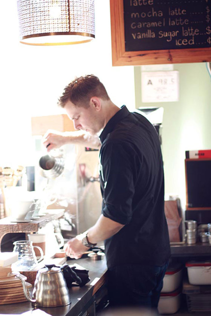 james yoder brews pour over coffee at not just coffee