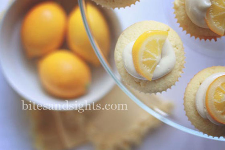 looking down on the plate of meyer lemon cupcakes