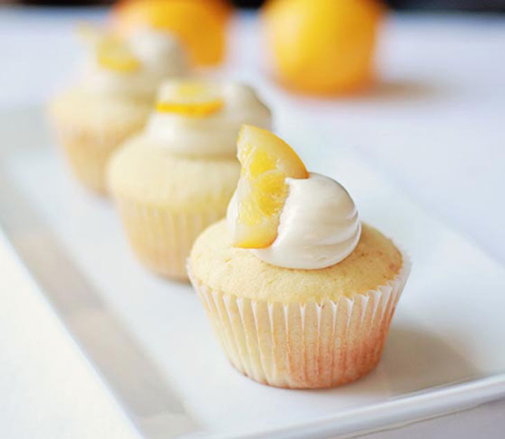 meyer lemon cupcakes on a plate