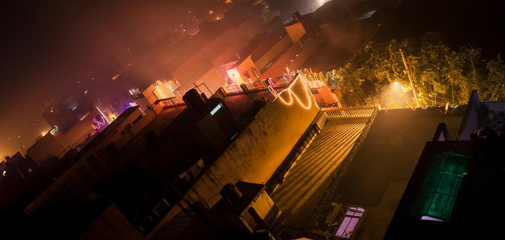 Diwali feiern auf den Dächern Agras
