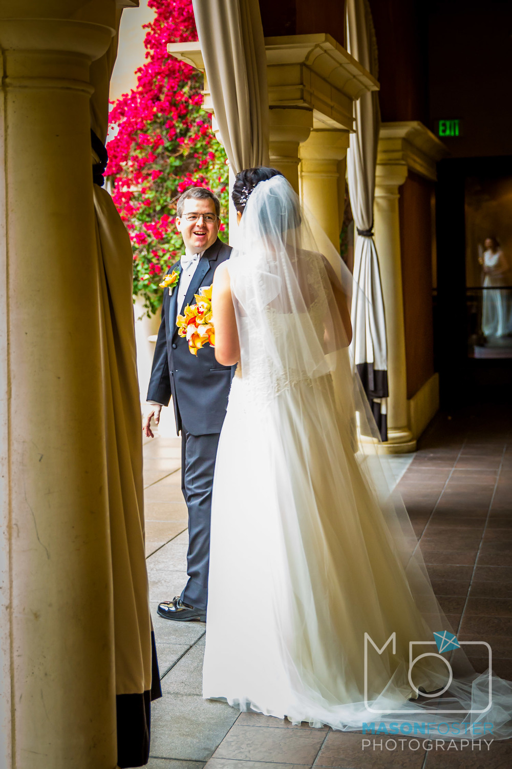 Their first look in the courtyard of the Hotel Valencia in Santana Row.