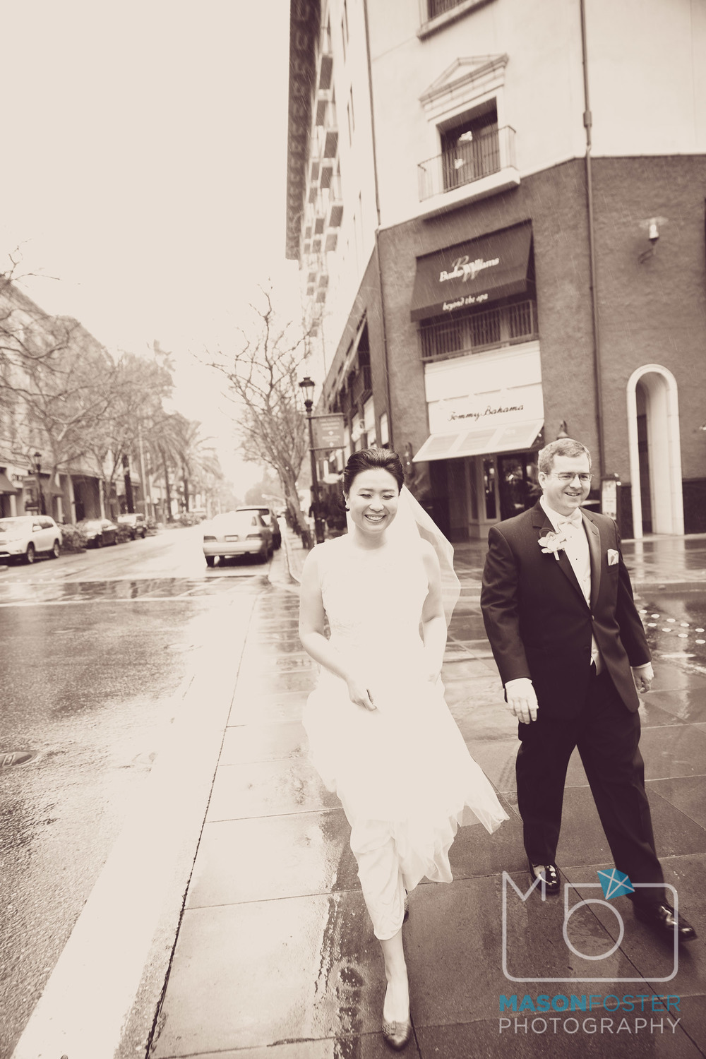 Rainy day wedding in San Jose.