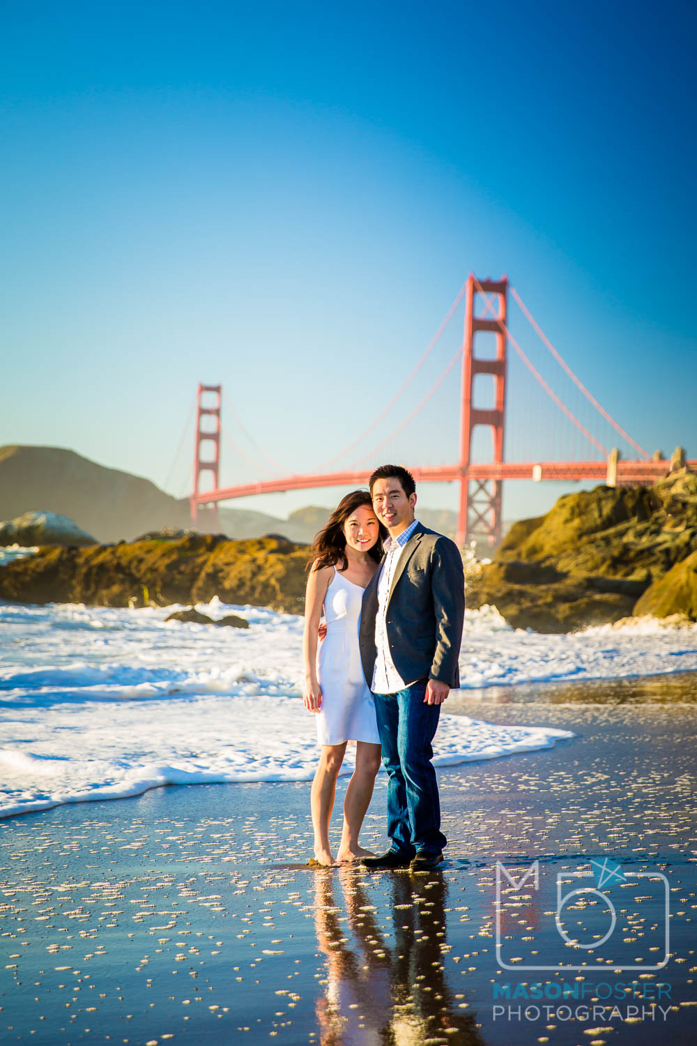 view of Golden Gate Bridge from baker beach, san francisco - engagement photography
