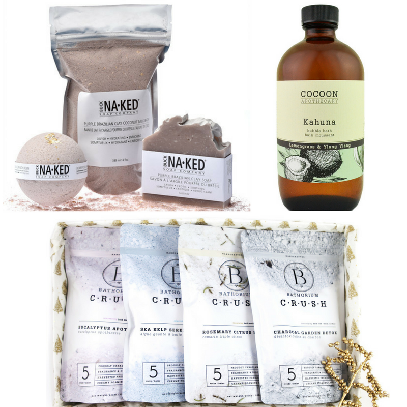 1. Buck Naked Soap Company  Bath Bomb  ,Soap, and Bath Soak   2. Cocoon Apothecary  Kahuna Bubble Bath  3. Bathorium  Crush