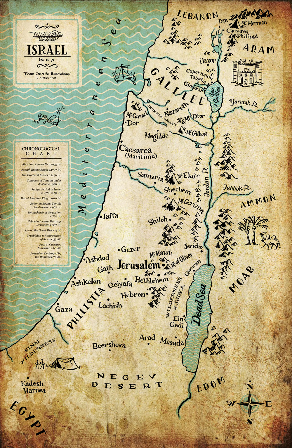 Hand-lettered map of Ancient Israel, done for Cold Water Media's Drive ... Water In Hand