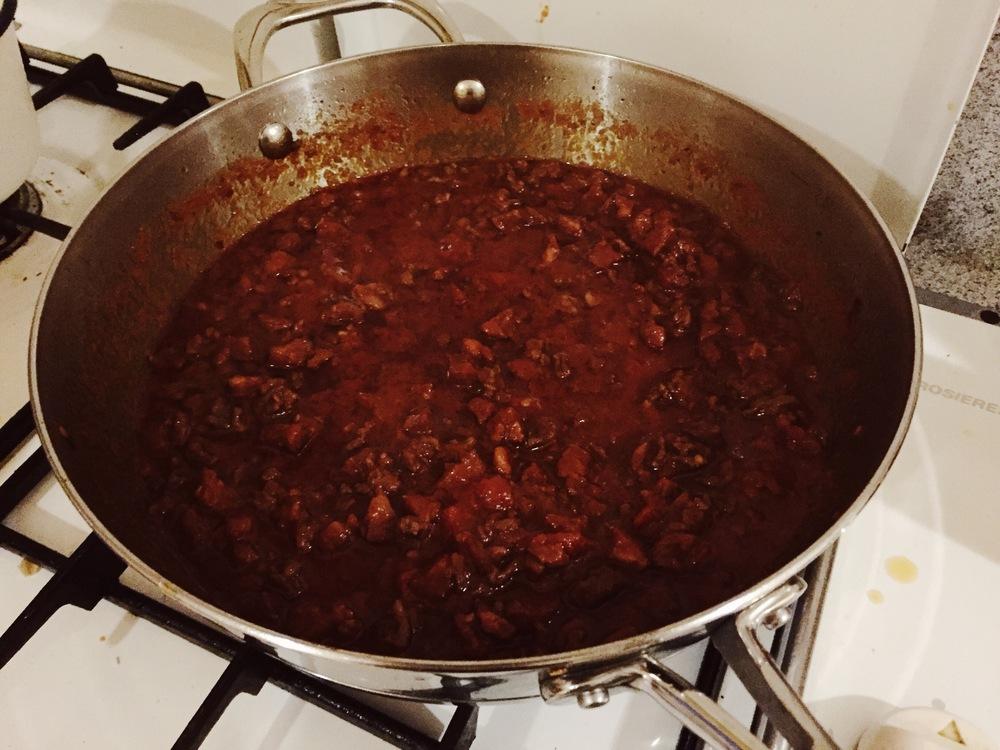 Chorizo & beef bolognese sauce!