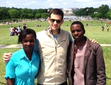 "Dr. Lydia and Brian on the National Mall in Washington, D.C. with ""tour guide"" Jeff Kaiser, an ECHOES Board member."