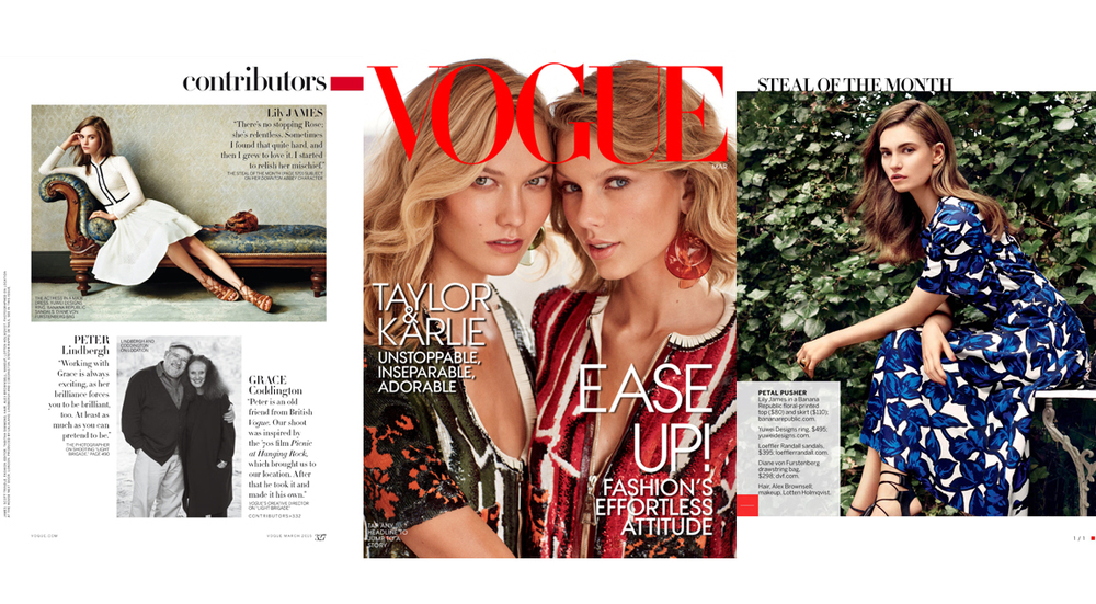 Vogue March 2015 Issue, (Left) Lily James wearing the Pointed Teardrop Ring. (Right) Lily James wearing the Black Onyx Oval Ring.