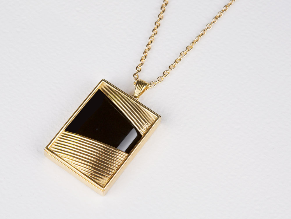 Large Square Black Onyx Necklace       $210