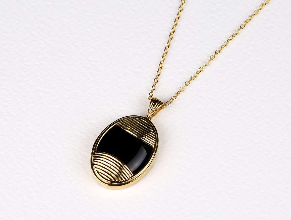 Oval Black Onyx Necklace      $159