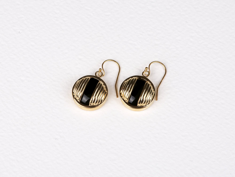 Circle Black Onyx Earrings       $139